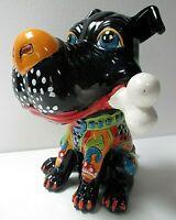 "Mexican Folk Art Talavera Pottery Ceramic Dog with Bone Animal Figure 13"""