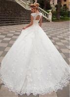 Elfenbein Weiß Spitze A-Linie Brautkleider Abendkleid Größe 32 34 36 38 40 42 44