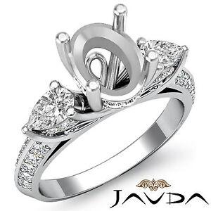 3 Stone Pear Oval Diamond Wedding Antique Ring Semi Mount 18k White Gold 1.21Ct