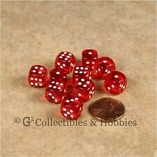 NEW 10 Transparent Red 10mm Rounded Edge RPG D&D Game D6 Dice Set