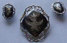 Sterling Siam Silver Niello Ware Mekkala & Garuda Pin Brooch & Clip Earrings
