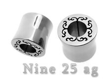 PAIR OF LAZER CUT 00g 10MM SURGICAL STEEL TUNNELS PLUGS body jewelry