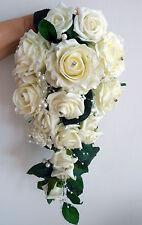 DEMOISELLES D'HONNEUR BOUQUET DE MARIAGE Ivoire Mousse De Roses avec diamante