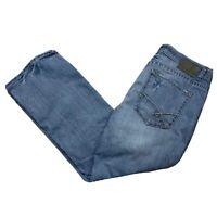 BKE Buckle Mens Distress Derek Boot Leg Blue Denim Jeans Tagged 34S Mea 37x29.5