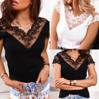 ❤Womens Sexy Lace V Neck Tops Ladies Casual Short Sleeve Slim Fit Blouse T Shirt