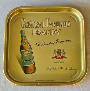 Vintage Australian Chateau Tanunda Brandy Advertising Drinks Tray