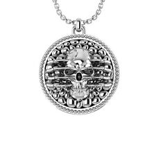 """Sterling Silver Cobblestone Skull Necklace with 24"""" inch for Father Day's"""
