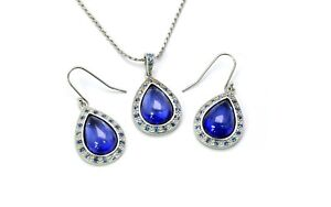 Tanzanite Pear Shaped Cabochon Earrings And Necklace Set  .925 Sterling Silver