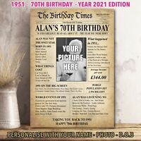 70th Back In 1951 Personalised Photo Birthday Gift Poster Print Newspaper  37