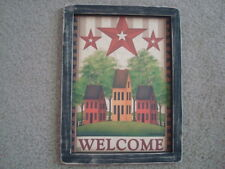 """Primitive Country Print **WELCOME with 3-SALT BOX HOUSES** black frame 9"""" x 12"""""""