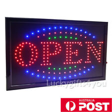 "FLASHING LED SIGN ""OPEN"" SIZE 48CM X25CM / NO on off Switch Electronic Signs AU"