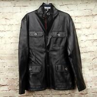Emporio Men's Designer Black Italian Faux Leather Coat Size M Button Front Black
