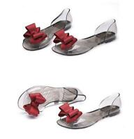 Hot Womens Open Toe Crystal Shoes Jelly Pvc Transparency Sandals Flat Low Heel