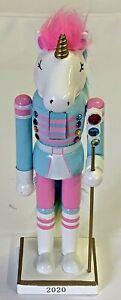 "WONDERSHOP 14"" Nutcracker NWT Unicorn Soldier 2020 White w/ Pink Blue Yellow"
