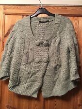ATMOSPHERE Ladies Pretty Pale Grey Button Detail Wool Blend Cardigan Size 8