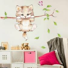 wall stickers for kids rooms home decoration Cute cat butterfly tree branch