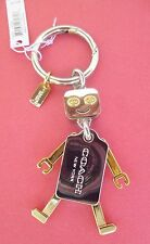 NWT COACH Robot Gold & Silver Tone Movable Limb CHARMS KEY FOB F65429 + Dust Bag