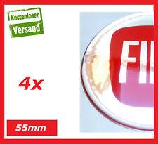4x 55mm Passend für Fiat Aufkleber Raddeckel Nabendeckel Radkappen Emblem rot