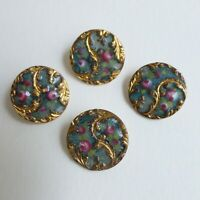 Boutons anciens - Émail Basse-Taille -15 mm - XIXe - Basse-Taille Enamel Buttons