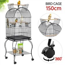 Large Metal Open Top Parrot Cage Aviary Bird Cage for Lovebirds Cockatiels Black