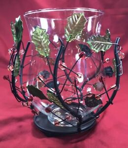 Hurricane Candle Holder, Holly And Berries, Pacific Rim,metal and glass
