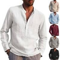 Herren Langarm Shirt Hemd Henley Freizeithemden Slim T-Shirt Leinen-Look Tops
