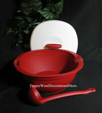 Tupperware NEW Legacy Stew Soup Tureen Serving Bowl  Dish w/ Ladle RED WHITE