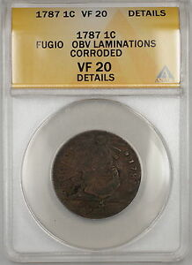 1787 Fugio Large Cent 1c Coin ANACS VF-20 Details Corroded Obverse Laminations