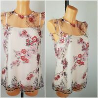 NEW Ex F&F Ladies Cream Floral Embroidered Lace Top  Size 6 - 20