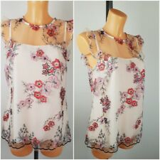 8d3aae5bb2 NEW Ex F&F Ladies Cream Floral Embroidered Lace Top Size 6 - 20