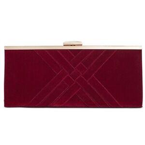 NEW INC Kelsie Wine Velvet Clutch Handbag with Chain Strap NWT!