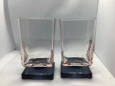 """Vintage 2 Pink & Blue Square Footed Cocktail Glasses 4"""" 70's Retro Barware"""