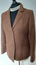 Ladies 100% Tweed Brown Wool Jacket Size Uk 10
