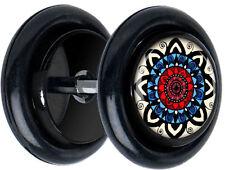 Pair Colorful Mandala FAKE GAUGES EARRINGS body jewelry 5167