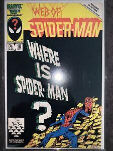 Web of Spider-Man #18 VF/VF+ 1st Cameo Eddie Brock Venom Marvel Comics 1986 more