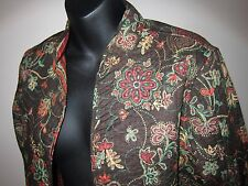 Sz PM New Quilted Baxter Wells Brown Floral Reversible Striped Cotton Jacket NWT