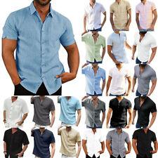 Mens T-Shirt Short Sleeve Soft Solid Shirt Summer Casual Basic Tee Top Buttons