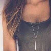 Women Silver Long Chain Lariat Drop Charm Bar Necklace Jewelry Pendant