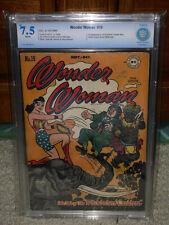 Wonder Woman #19 CBCS 7.5 DC 1946 1st Supreme Leader Blitz WP Free CGC Mylar! cm