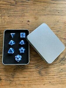 DND Dice 7pcs Ancient Blue RPG Dungeons Dragons D20 D12 D10 D8 D6 D4 D% Gift Set