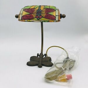 Vintage Multicolor Dragonfly Stained Glass Style  Tiffany Banker Desk Lamp