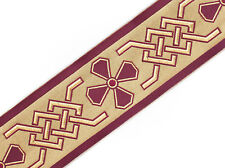 "Jacquard Trim Celtic Cross Vestment Sewing Burgundy on Gold 3¾"" wide, 3 Yards"