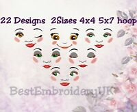 DOLL FACE Machine Embroidery Designs - 22 Designs in 2 Sizes - PES DST JEF HUS