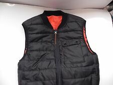 CPO~Urban Outfitters~Black & Orange Puffy Quilted Reversible Vest XS~LN