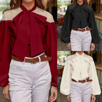 Autumn Womens Shirt Bow Tie Neck Long Sleeve OL Shirt Tops Blouse Casual Fashion