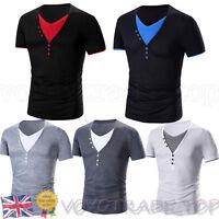 Fashion Mens Short Sleeve T Shirt Casual Slim Cotton Blouse Tops V-neck NEW SALE