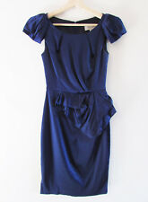 Veronika Maine Sz 6 Navy Satin Cap Pleat Slv Fitted Peplum Cocktail Party Dress