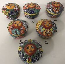 MEXICAN FOLK ART ~ TALAVERA Pottery SUN Trinket Box~ HAND PAINTED (Choose ONE)