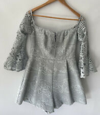 SHIEKE amazing Broderie Mint Bell Sleeve Playsuit Romper Size 12 10