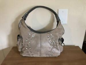 Kathy Van Zeeland Tan and Gray Embellished Hobo Bag